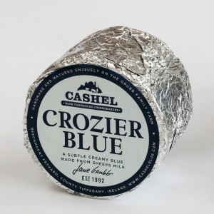 Crozier Blue whole cheese branded