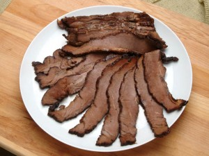cooked sliced beef